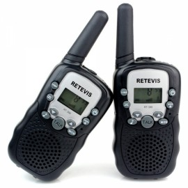 1Pair Retevis RT-388 Walkie Talkies UHF 0.5W 22CH Flashlight Two-Way Radio for Kids Children - Black