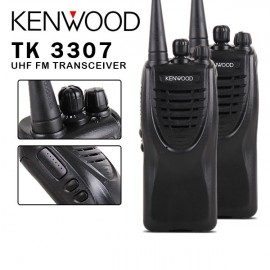 2 x Kenwood TK-3307 16CH UHF Rechargeable 2 Way Radio Walkie Talkie Transceiver