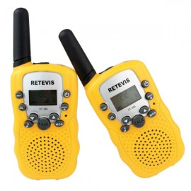 1Pair RT-388 Walkie Talkies UHF 0.5W 22CH Flashlight Two-Way Radio for Children - Yellow