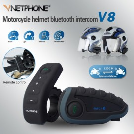 V8 1000m Five-Way Full Duplex Motorcycle Helmet Wireless Bluetooth Intercom with NFC Remote Control FM Radio