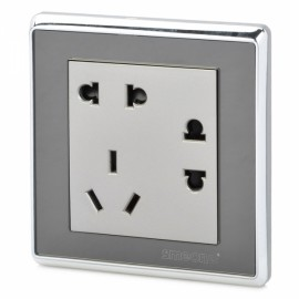 SMEONG 3-Power Mirror Panel Wall Mount Socket Outlet with Screws Silver (AC 250V)