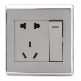 SMEONG Leather Pattern 2-Socket 1-Switch Wall Mount Socket OutletLight Champagne (AC 250V)