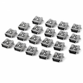 20pcs Practical DC 30V 1.5A DIY 5-Pin Mini USB FB Type SMT Socket Plugs Set White