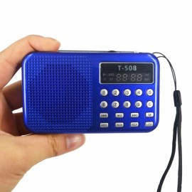 LCD Digita Stereo FM Radio Speaker USB TF Card MP4 Music Player Blue