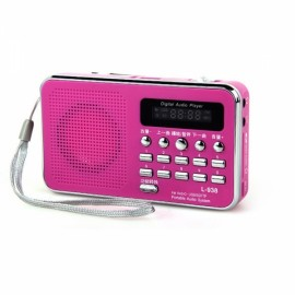 L-938 Portable LCD Digital FM Radio Speaker USB SD Card Music Player Rose Red