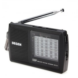 Degen DE321 FM Stereo Radio MW SW DSP World Band Receiver Black