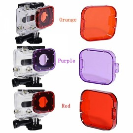 3-in-1 Professional Underwater Diving Filter Pack for GoPro Hero 3 + Red & Orange & Purple