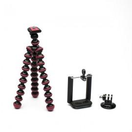 JUSTONE 3-in-1 Mini Octopus Tripod for Camera / Phone / GoPro Hero 4 / 2 / 3 / 3+ / SJ4000 Black & Red