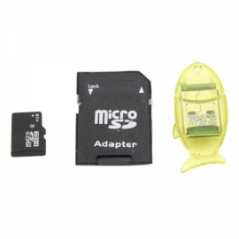 4GB TF Card with SD Card Adapter + Transparent Fish-shaped Card Reader Yellow