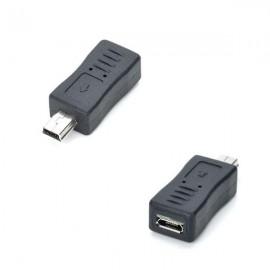 Micro USB Female to Mini USB Male Adapter Black