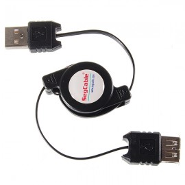 AM/AF Retractable USB Extension Data Cable (70cm) Black