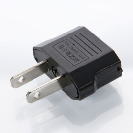 Universal EU to US Power Two-pin Plug Converter Adapter Black