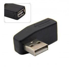 CY U2-031 90-Degree Left Angled USB 2.0 Male to Female Extension Adapter Black