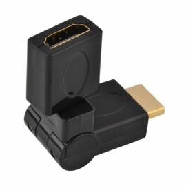 180-Degree Rotatable HDMI Male to Female Adapter Black