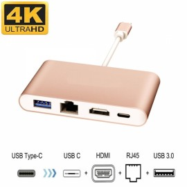 Cwxuan 4-in-1 USB 3.1 Type-C to 4K HDMI, USB 3.0, RJ45 Ethernet Port, Type-C Adapter Charger - Gold