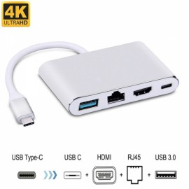 Cwxuan 4-in-1 USB 3.1 Type-C to 4K HDMI, USB 3.0, RJ45 Ethernet Port, Type-C Adapter Charger - Silver