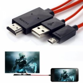 1.2M Micro USB 2.0 MHL Male to HDMI Male Media Adapter Connection Cable for Galaxy S3 Black + Red