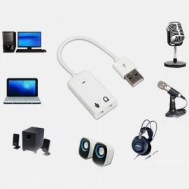 USB Sound Card 7.1 Channels USB External USB Sound Card Computer Sound Card PC Sound Card White