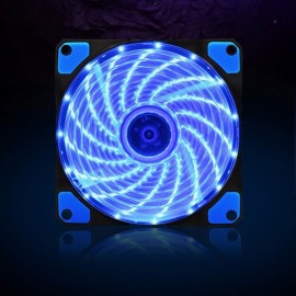120x120x25mm 12V 3/4-Pin Quiet CPU Cooling Fan with 15 LED Light for Desktop