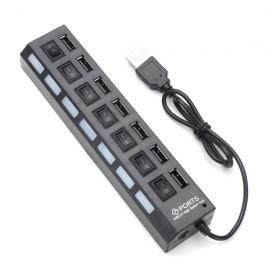 7-Port LED USB 2.0 Hub High Speed Mini USB Hub Adapter for Phones PC Devices Black