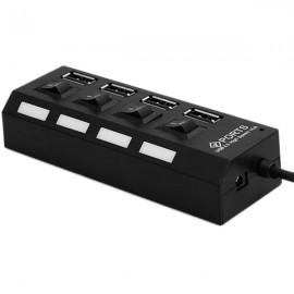 4-Port LED USB 2.0 Hub High Speed Mini USB Hub Adapter for Phones PC Devices Black