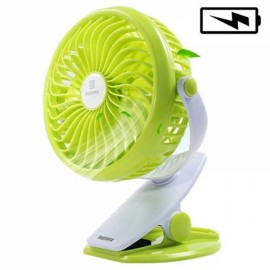 Remax F2 Clip on Rechargeable 360-Degree Rotation 4 Blades USB Desk Fan Green