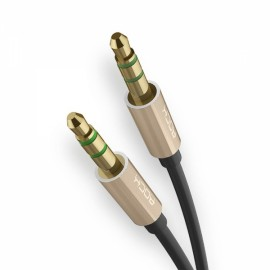 ROCK JACK 2M Male to Male 3.5mm to 3.5mm Universal Auxiliary Audio Stereo Cable Golden