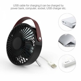 5.5 Inch Mini Portable 2 Speed USB Electric Desktop Fan with Adjustable Metal Stand - Black