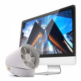 VH Hanging Desk Stand USB Fan Metal Quiet Touch Switch Mute Cooling Mini USB Charge Fan - White