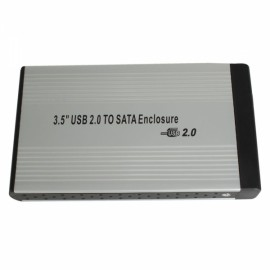 "3.5"" USB 2.0 SATA HDD HD Hard Drive Enclosure External Case Silver"