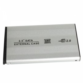 "2.5"" USB 2.0 SATA HDD Hard Drive Enclosure External Case Silver"