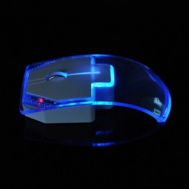 2.4G Wireless Mouse Silent Gamer Transparent LED Ultra-thin 1000DPI Glow in the Dark Gaming Mouse for Notebook Desktop Computer Blue