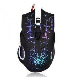 A888 Crack Pattern Wired Mouse Black