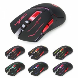 HXSJ X30B Wireless 7-Color Breathing Light 4 Adjustable DPI Gaming Mouse Black