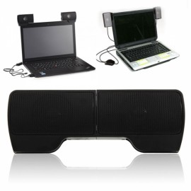 Mini Portable External USB Stereo Speaker line Controller Soundbar for Laptop PC Black