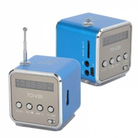 2pcs Mini Multimedia Speaker MP3 Player USB FM Radio Blue