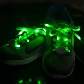 2pcs Nylon LED Shoelaces Flat Luminous Shoelace for Sneakers Green
