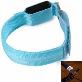 Unisex LED Safety Reflective Armband Flashing Belt Strap Wrist Armband Blue