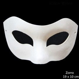 Halloween Cosplay Costume Party Zorro Mask Paper Pulp Mask for DIY White