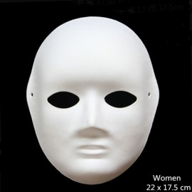 Halloween Cosplay Costume Party Woman Mask Paper Pulp Mask for DIY White