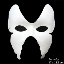 Halloween Cosplay Costume Party Butterfly Mask Paper Pulp Mask for DIY White