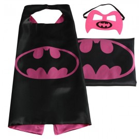 Kids Super Hero Cape & Mask Bat Cosplay Costume Boy Girl Suit Rose Red & Black