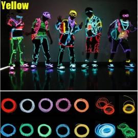 4M Flexible 3-Mode Neon EL Wire Light  Party Dance Decor Light Yellow