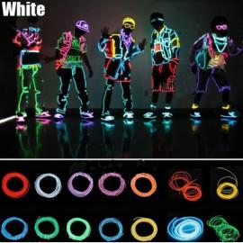 4M 3-Mode Neon EL Wire Light Flexible Party Dance Decor Light White