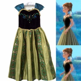 Disney Frozen Princess Anna Kids Girls Cosplay Costume Gown Dress 100cm