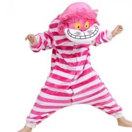 Cute Cartoon Style Cheshire Cat Pattern Kids' Flannel Sleepwear Jumpsuits (135-145cm) Pink