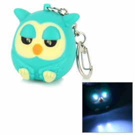 2-LED Cool White Light Cute Owl Style 10lm Keychain w/ Sound Effect Aquamarine