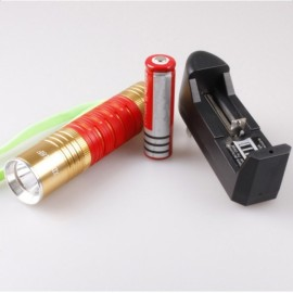 500LM Fluorescent Waterproof LED Flashlight with Charger and Battery Red