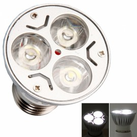 E27 3W 3 LED 300LM 6000K White Light Dimmable Spotlight Silver (110V)