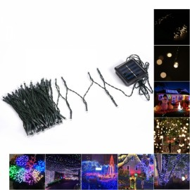 3W 6M 50 LED Purple Light Indoor Outdoor Wedding Christmas Party Solar Powered String Light